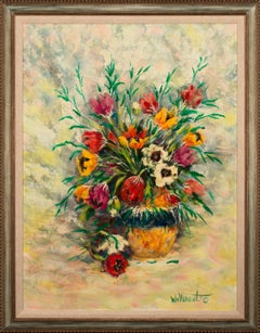 Untitled Floral Large Framed Original Oil Painting on Canvas by William Verdult