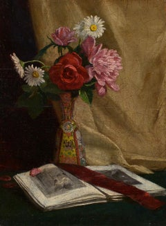 """Still Life of Flowers with Book,"" realist, William V. Birney, oil on panel"