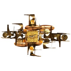 William Vose for Curtis Jere Brass and Copper Brutalist Wall Sculpture Clock