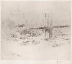 Brooklyn Bridge, New York, signed etching by William Walcot, c1925
