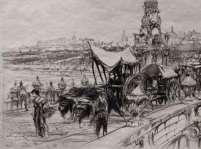 Segovia Bridge, Madrid. 1924. Etching. Harvey-Lee 128. 5 3/4 x 13 11/16 (sheet 10 3/4 x 17 3/4). Edition 74. Printed on 'J Whatman' cream wove paper. Signed in pencil  Housed in a 16 x 20-inch mat suitable for framing.  The Bridge of Segovia