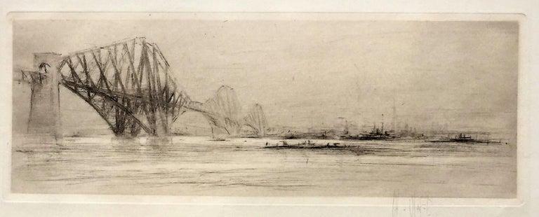 William Walcot, R.E., Hon.R.I.B.A. Figurative Print - The Forth Bridge