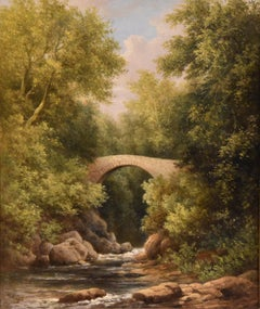 """Oil Painting by WILLIAM WARD GILL """"A North Wales Bridge"""""""