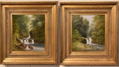 """Oil Painting Pair by William Ward Gill """"Falls at the Head of Loch Lomond"""""""