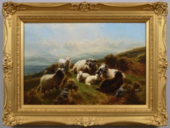 19th Century Highland landscape oil painting of sheep near Loch Awe
