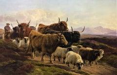 """Highland Cattle & Sheep"", with shepherd, Scottish landscape, oil on canvas"