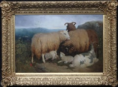 Sheep on a Mountain - British Victorian oil painting landscape animals
