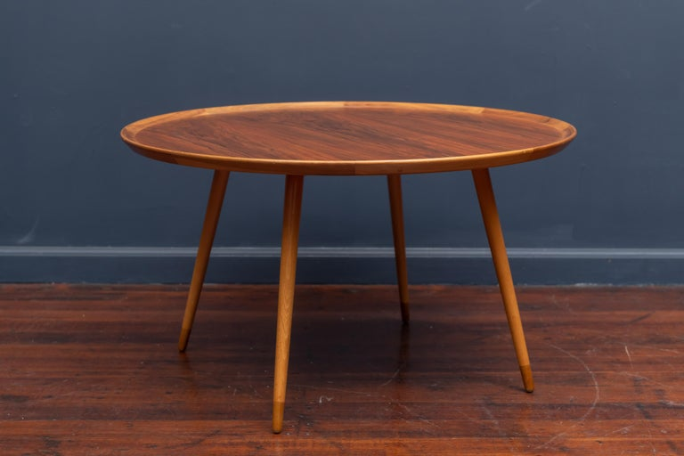 William Waiting design teak and birch round coffee table, excellent quality construction. Newly refinished and labeled.