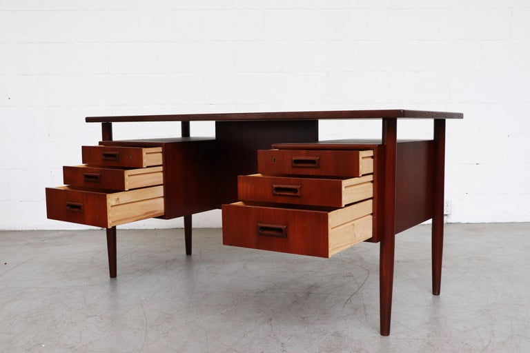 Teak William Watting Style Floating Top Desk For Sale