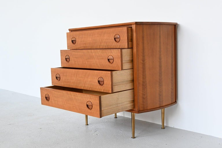 Dutch William Watting Walnut Chest of Drawers Fristho Franeker The Netherlands, 1960 For Sale
