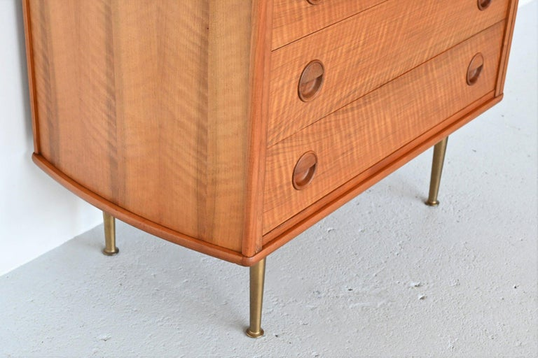 Mid-20th Century William Watting Walnut Chest of Drawers Fristho Franeker The Netherlands, 1960 For Sale