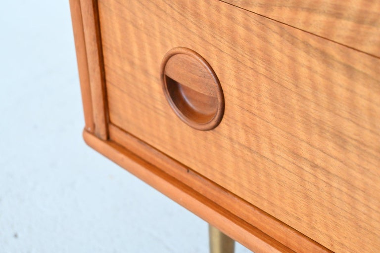 Brass William Watting Walnut Chest of Drawers Fristho Franeker The Netherlands, 1960 For Sale