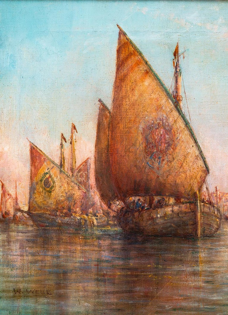 Oil on canvas painting by William Webb of Venice, mounted in a carved and gilded gesso frame.   William Webb was born in Manchester in 1862 and was almost entirely a marine artist, a painter in oils of coastal scenes. He was a prolific painter,