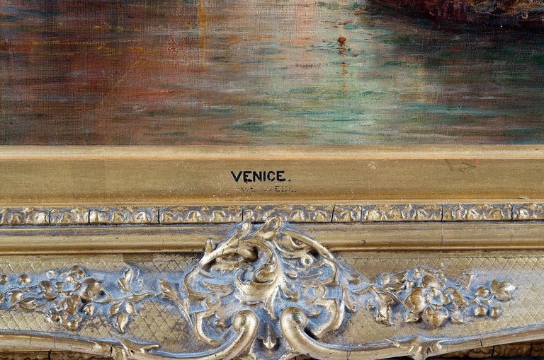 William Webb, Oil on Canvas of Venice, 1880 In Good Condition For Sale In Brighton, Sussex