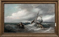 Ships In A Storm Off A Harbour, Isle Of Man 19th Century