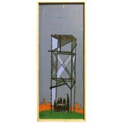 """William Webber Original Midcentury Oil Painting """"Camera Obscura"""", circa 1950s"""