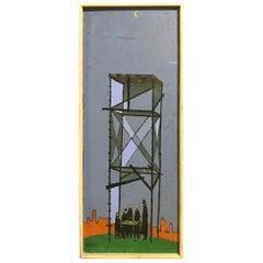 """William Webber Original Oil Painting """"Camera Obscura"""" circa 1950s"""