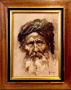 Sephardic Rabbi, Middle Eastern Expressionist Mid Century Orientalist Painting