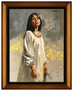 William Whitaker Oil Painting On Board Original Female Portrait Signed Artwork