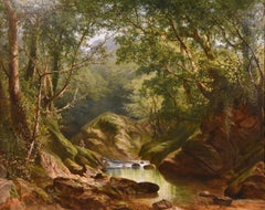 "Oil painting by William Williams ""On the Erme, Ivy Bridge, Devon"""