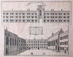 Exeter College Oxford University William Williams c. 1732 Engraving print