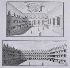 William Williams engraving of Jesus College Oxford c.1732 Collegium Jesu