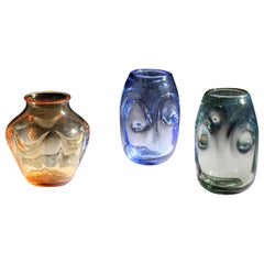 William Wilson Whitefriars Glass Vases Set 3 Amber Sapphire Seagreen