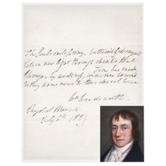 William Wordsworth 19th Century Autographed Poetry Quotation on Paper