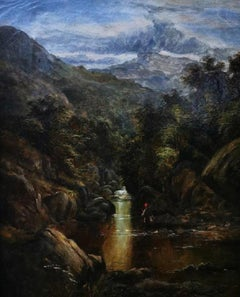 """A Mountainous Landscape"", Cascading Stream with fisherman, original oil/canvas"