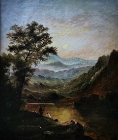 """""""A River and Mountain Landscape at Sunset"""", figures fishing, oil on canvas"""