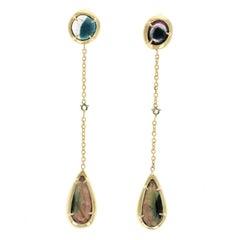 Willow 18 Karat Gold Rosecut Tourmaline and Sapphire Earrings