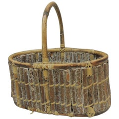 Willow Oval Decorative Basket with Handle