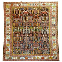 Willow Tree Antique 20th Century Persian Bakhtiari Wool Rug, 20th Century