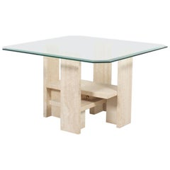 Willy Ballez Travertine and Glass End Table, Belgium