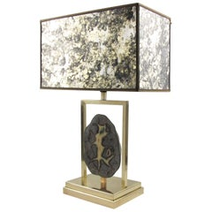 Willy Daro 1970s Brass and Geode Stone Table Lamp