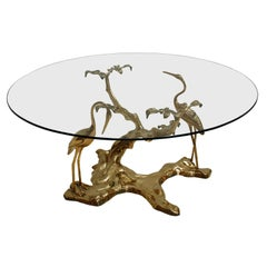 Willy Daro 1970s French Sculptural Brass and Glass Coffee Table