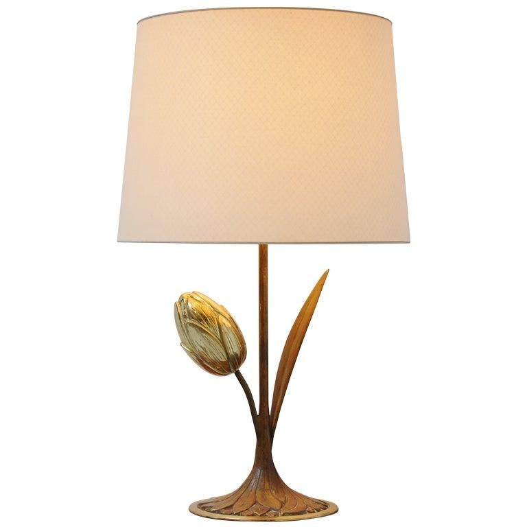 Willy Daro Attributed Brass Tulip Table Lamp Belgium, 1970 For Sale