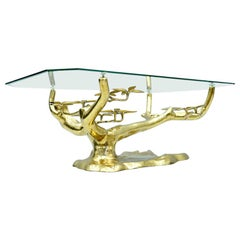 Willy Daro Bonsai Brass and Glass Coffee Table, 1970s