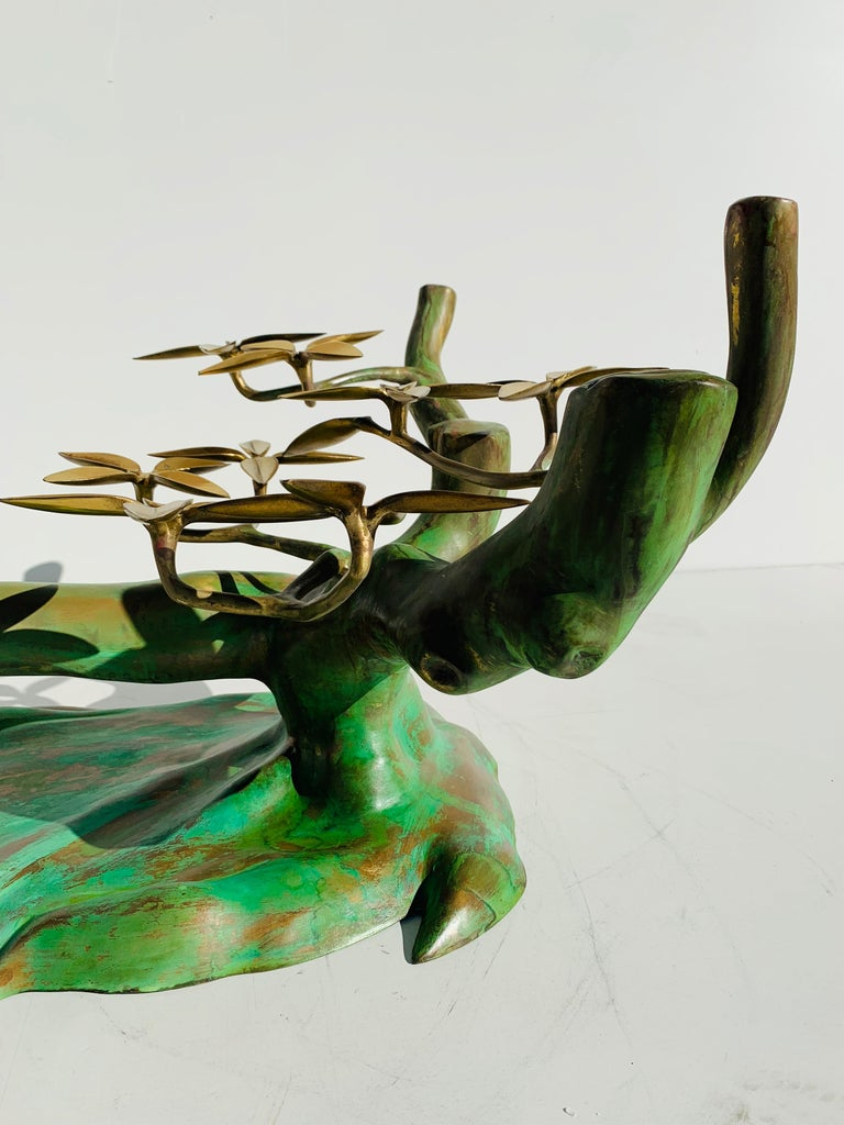 Willy Daro Brass Bonsai Tree Coffee Table For Sale 4
