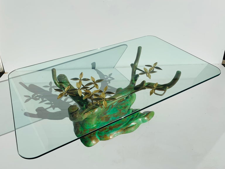 Will Daro brass bonsai tree coffee table base in Verdigris patina. Glass top shown is half inch thick, 30
