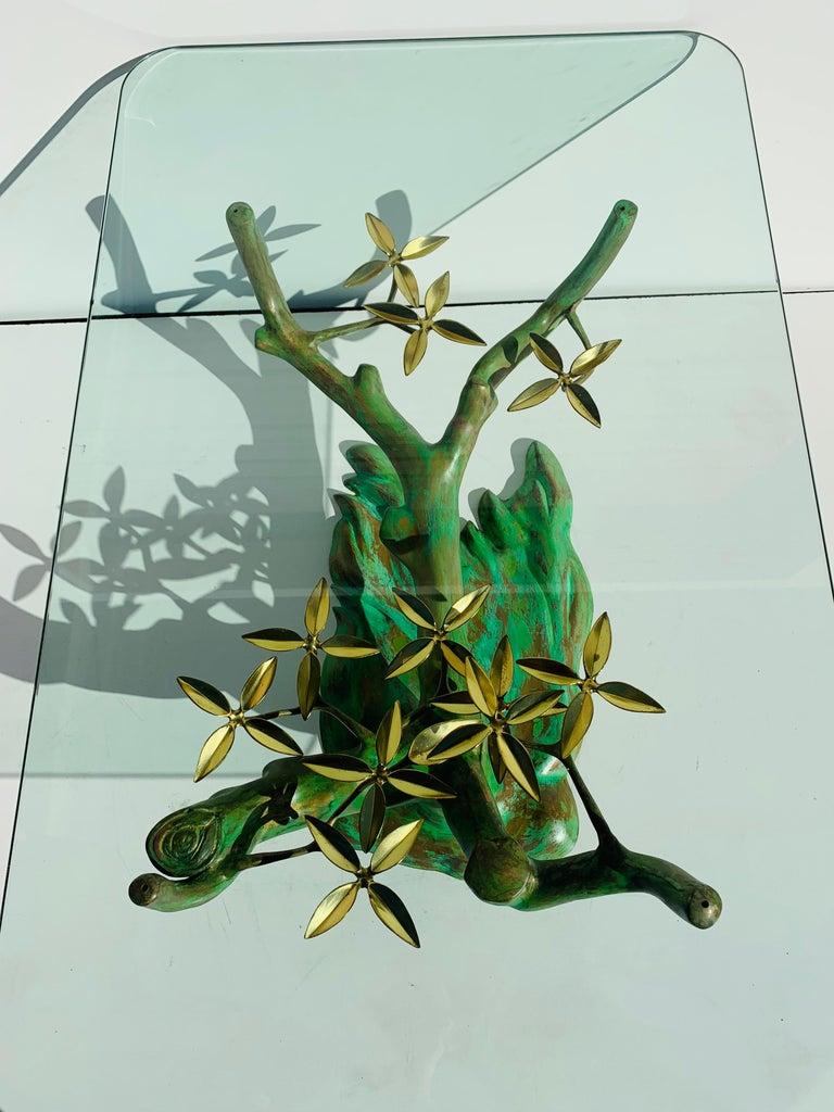 Mid-Century Modern Willy Daro Brass Bonsai Tree Coffee Table For Sale