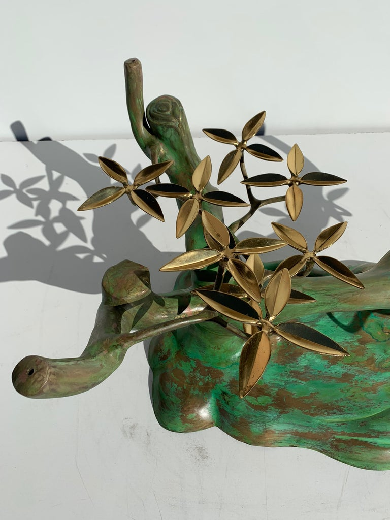 Patinated Willy Daro Brass Bonsai Tree Coffee Table For Sale