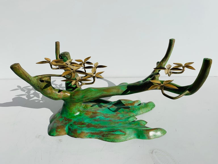 Late 20th Century Willy Daro Brass Bonsai Tree Coffee Table For Sale