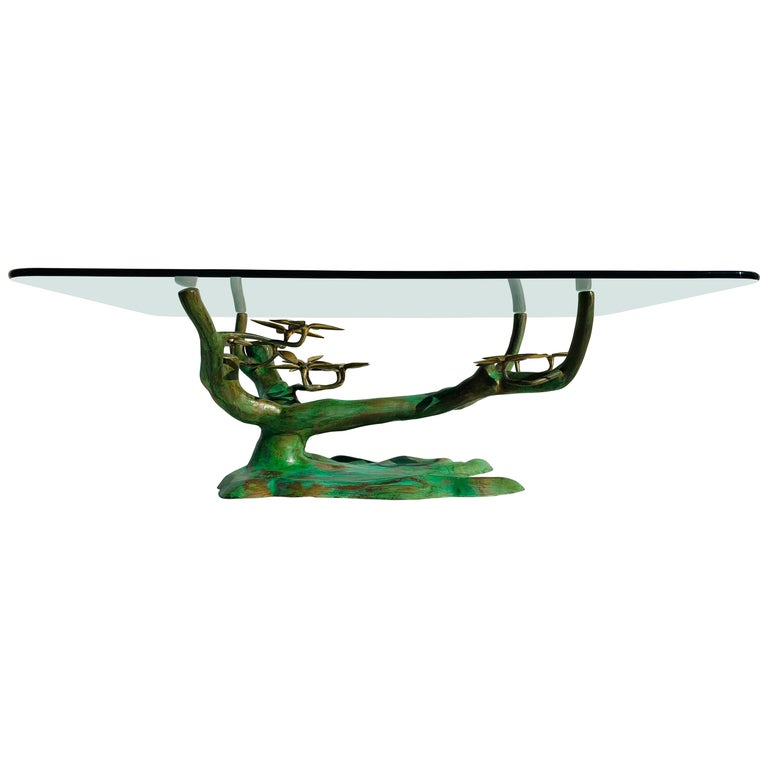 Willy Daro Brass Bonsai Tree Coffee Table For Sale