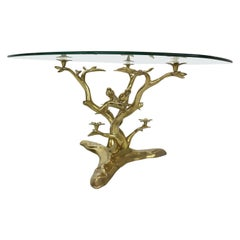 Willy Daro Brass & Glass Tree & Birds Sculpture Coffee Table, 1970s, Belgium