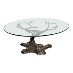 Willy Daro Contemporary Postmodern Bronze Bonsai Tree Coffee Table Midcentury