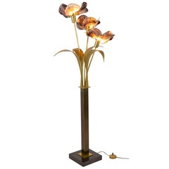 Willy Daro, Floor Lamp in Mother of Pearl and Patinated Brass, 1970s