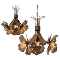 Willy Daro lights, pair flowers pendants, bronze & Lucite, 1960`s ca, Belgian