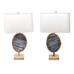 Willy Daro Mid-Century Modern Agate Geode Brass Table Lamps