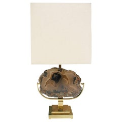 Willy Daro Mid-Century Modern Brass and Agate Stone Belgian Table Lamp